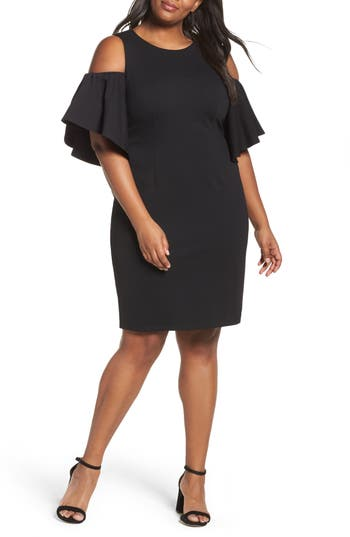 Plus Size Eliza J Cold Shoulder Sheath Dress, Black