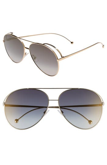 Fendi 52Mm Aviator Sunglasses - Gold/ Gray