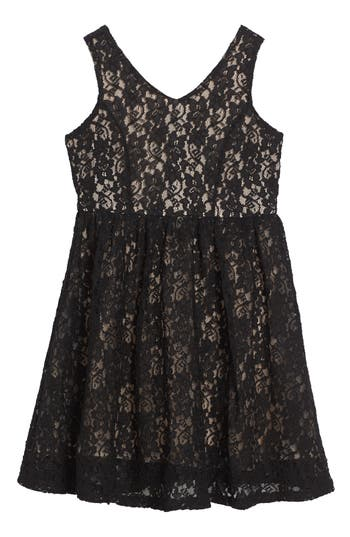 Girl's Soprano Lace Skater Dress, Size L (12-14) - Black