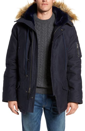 Schott Nyc Bedford Corduroy Goose Down Jacket With Faux Fur Trim, Blue