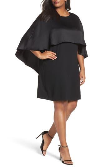 Plus Size Vince Camuto Matte Shine Overlay Dress, Black