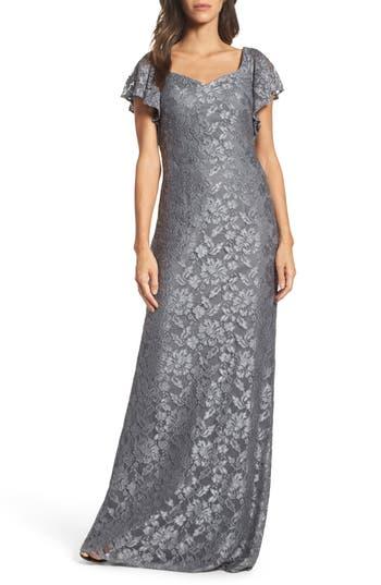 La Femme Flutter Sleeve Lace Gown, Grey