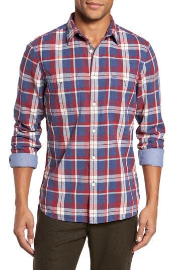 Nordstrom Shop Trim Fit Workwear Duofold Plaid Sport Shirt, Blue