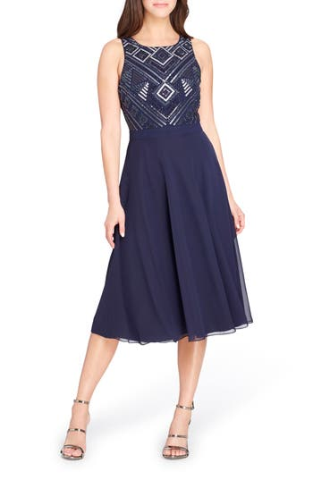 Tahari Beaded Fit & Flare Dress, Blue