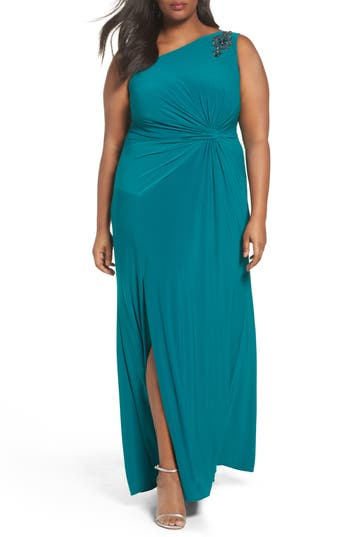 Plus Size Women's Adrianna Papell Embellished One-Shoulder Column Gown, Size 22W - Green