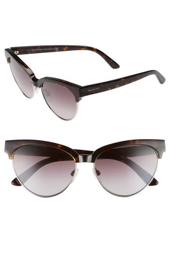 Balenciaga 57Mm Gradient Cat Eye Sunglasses - Black/ Gradient Smoke