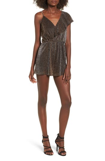 Women's Metallic Ruffle Sleeve Romper, Size X-Small - Black