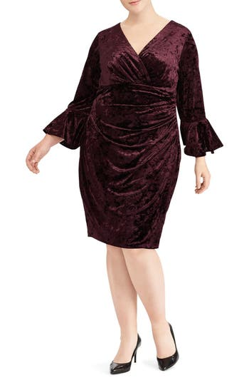 Plus Size Ralph Lauren Ruched Crushed Velvet Sheath Dress, Red