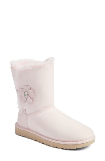 Ugg Bailey Button Poppy Genuine Shearling Boot, Pink