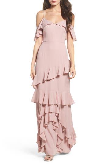 Wayf Danielle Off The Shoulder Tiered Crepe Dress, Purple