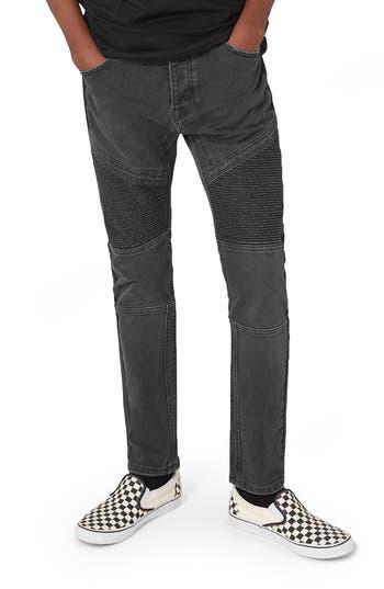 Topman Biker Stretch Skinny Jeans, Grey