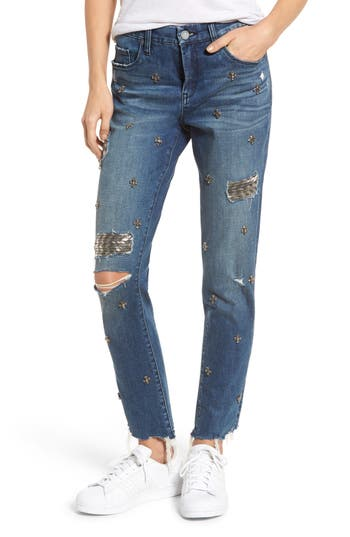Blanknyc Charm School Jeweled Girlfriend Jeans, Blue
