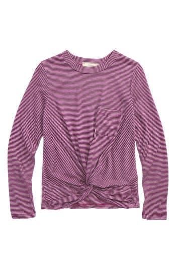 Girl's Soprano Knot Front Stripe Top, Size S (8-10) - Purple