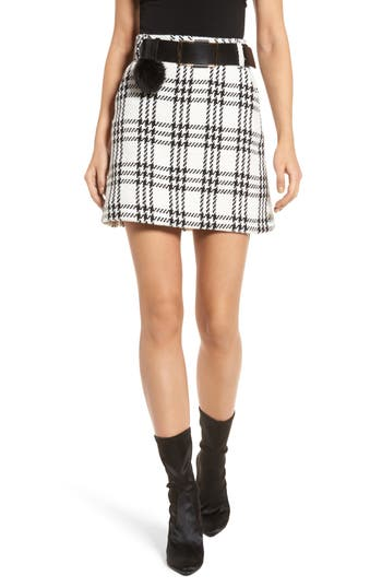 Lost Ink Check Skirt With Pompom Belt, Black