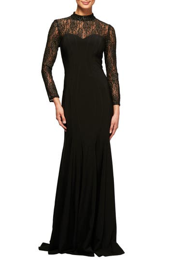 Alex Evenings Illusion Lace Fit & Flare Gown, Black