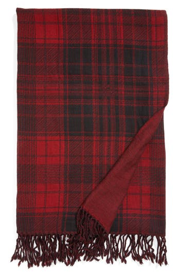 Modern Staples Plaid Double Face Merino Wool Throw, Size One Size - Red