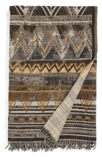 Modern Staples Raffia Double Face Merino Wool Throw, Size One Size - Black