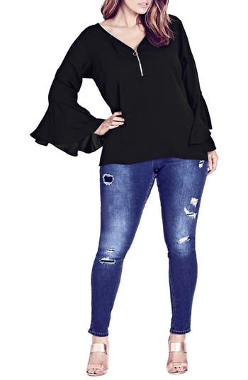 Plus Size City Chic Bell Cuff Zip Top, Black