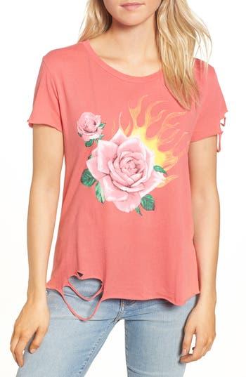 Women's Wildfox Rose Blaze Stellar Tee, Size X-Small - Red