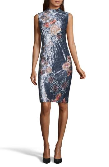 Eci Crushed Velvet Sheath Dress, Blue