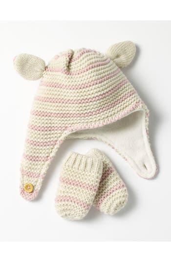 Infant Mini Boden Cozy Hat & Mittens Set - Ivory
