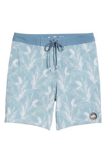 Rvca Mirage Print Board Shorts, Blue/green