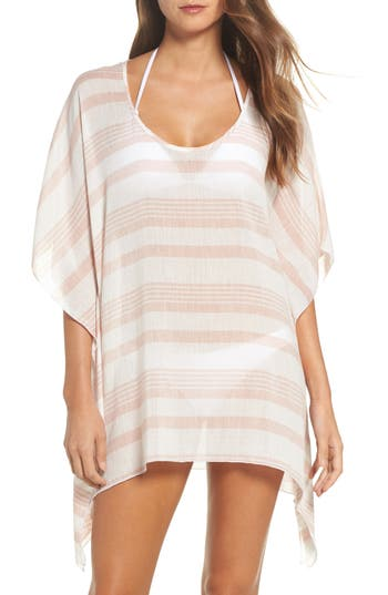 Elan Stripe Poncho Cover-Up, Size One Size - Pink