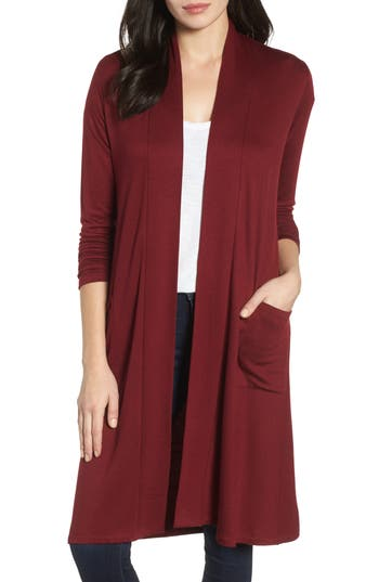Women's Bobeau Elegant Fleece Cardigan, Size XX-Small - Burgundy