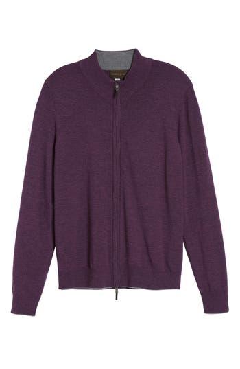 Thomas Dean Merino Blend Full Zip Cardigan, Purple