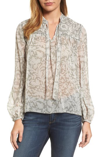 Women's Lucky Brand Beaded Floral Print Top, Size X-Small - Grey