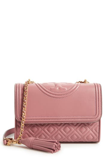 3b2df0eb3d7 TORY BURCH SMALL FLEMING QUILTED LAMBSKIN LEATHER CONVERTIBLE SHOULDER BAG  - PINK