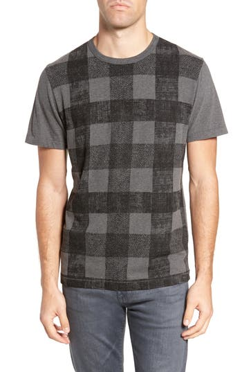 French Connection Texas Check Regular Fit T-Shirt, Grey