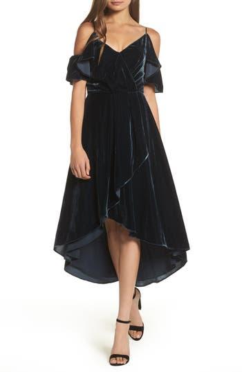 Chelsea28 Cold Shoulder Velvet Midi Dress, Blue