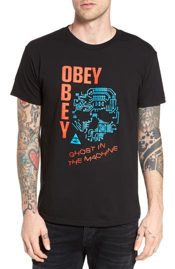 Obey Ghosts In The Machine Premium Graphic T-Shirt, Black