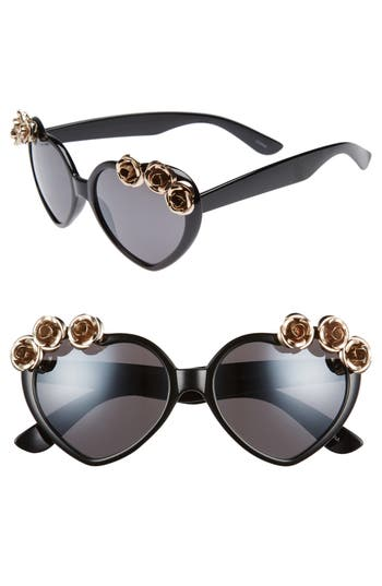 Women's Leith 58Mm Rose Embellished Heart Sunglasses - Black/ Gold