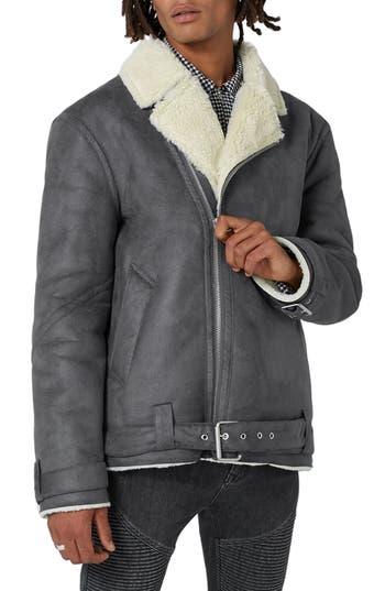 Men's Topman Borg Collar Faux Shearling Jacket, Size Large - Grey