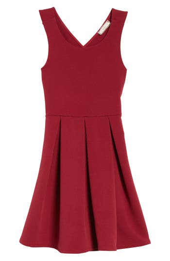 Girl's Soprano Skater Dress, Size S (8-10) - Burgundy