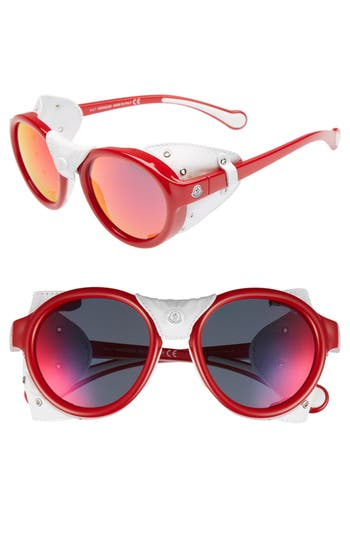 Moncler 52mm Round Frame Retro Sunglasses