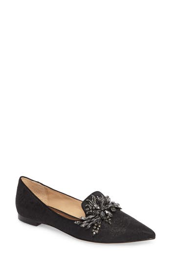 Badgley Mischka Mandy Embellished Loafer Flat, Black