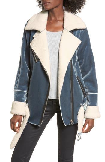 Women's Blanknyc Faux Shearling & Velvet Jacket, Size Medium - Blue