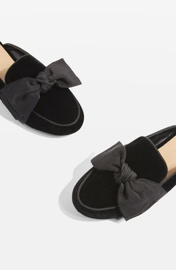 Topshop Luna Bow Detail Backless Loafers - Black