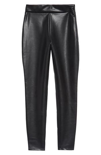 Leith High Waist Faux Leather Leggings, Black