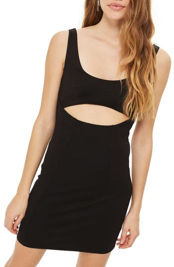 Topshop Cutout Body-Con Minidress, US (fits like 0) - Black