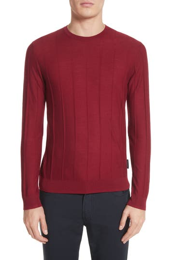 Emporio Armani Slim Fit Wool Crewneck Sweater, Burgundy