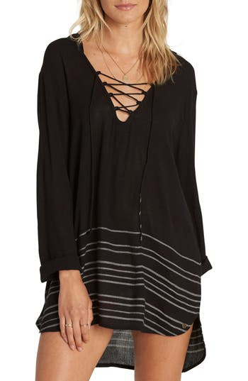Women's Billabong Same Story Cover-Up Tunic, Size Large - Black