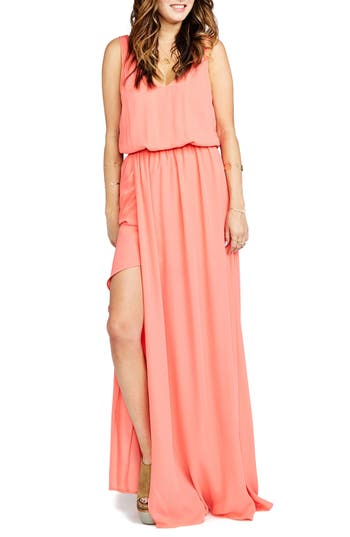 Women's Show Me Your Mumu Kendall Soft V-Back A-Line Gown, Size Small - Pink