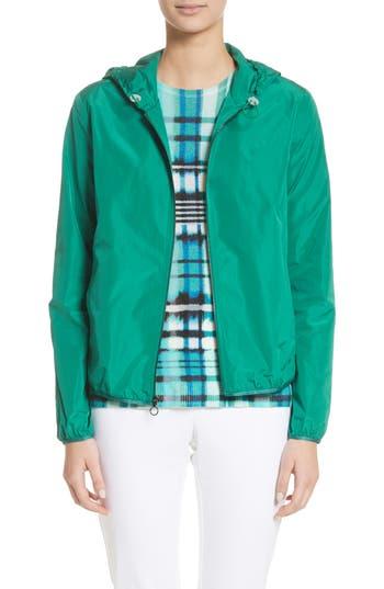 Women's St. John Collection Lightweight Taffeta Hooded Jacket, Size Petite - Green