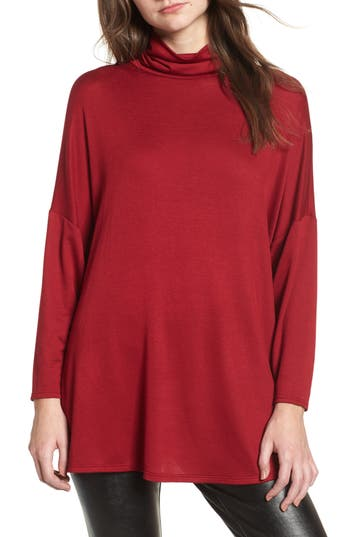Women's Soprano Mock Neck Tunic, Size X-Small - Burgundy