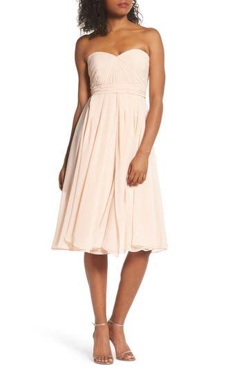 Jenny Yoo Emmie Convertible Chiffon Tea-Length Dress, Pink