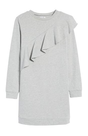 Love, Fire Ruffle Sweatshirt Dress, Grey